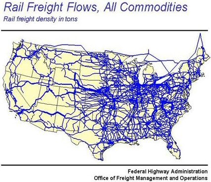 Rail Frieght Flows, All commodities Map